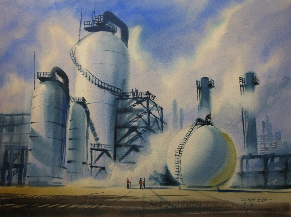 Ralph Hulett - Storage Tanks & Workers, Oil Refinery