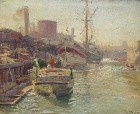 Title: Joseph Kleitsch/On the Waterfront , Date: 1915 , Size: 16x20 , Medium: Oil on Canvas
